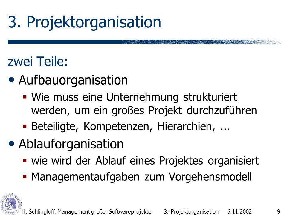 3. Projektorganisation zwei Teile: Aufbauorganisation