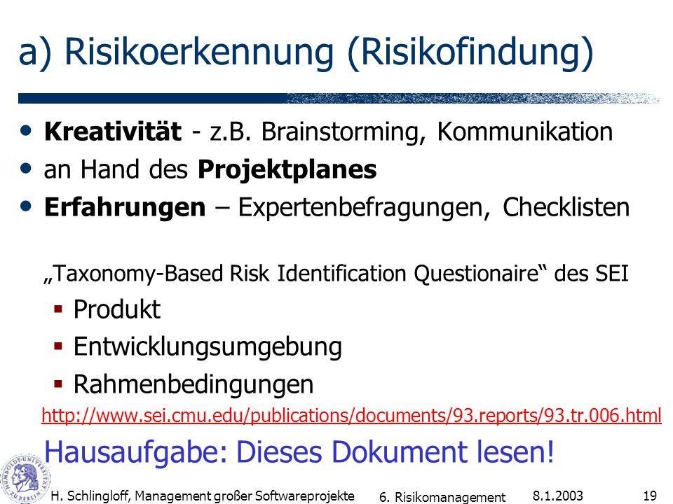 a) Risikoerkennung (Risikofindung)