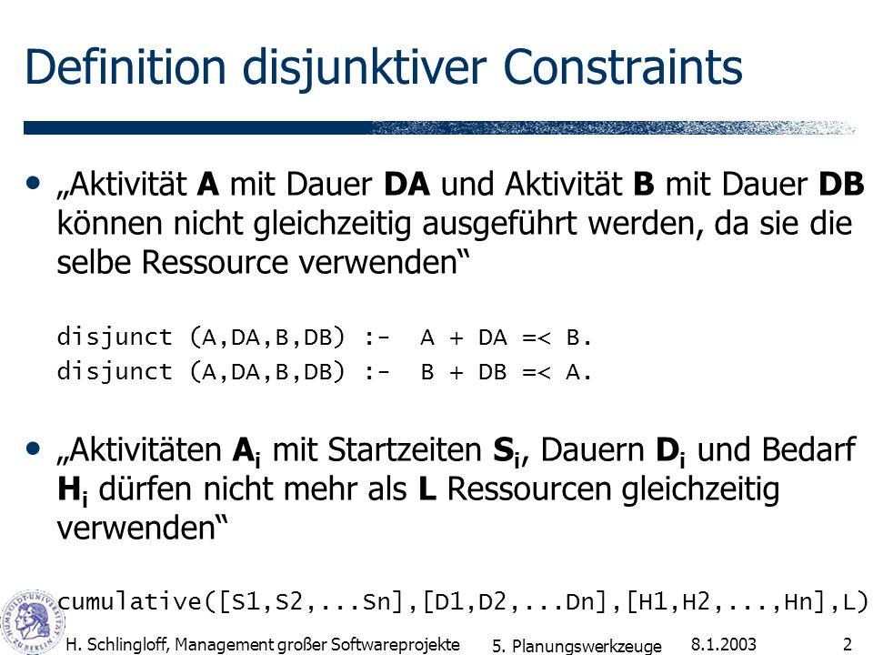 Definition disjunktiver Constraints