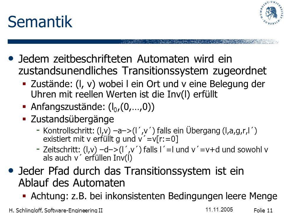 Semantik Jedem zeitbeschrifteten Automaten wird ein zustandsunendliches Transitionssystem zugeordnet.