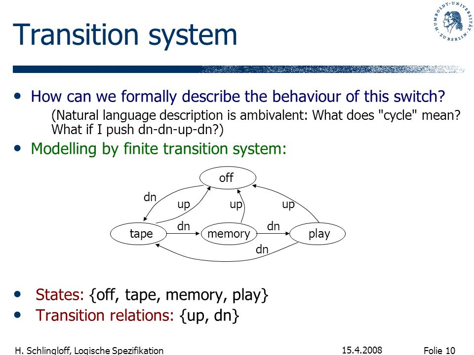 Transition system How can we formally describe the behaviour of this switch