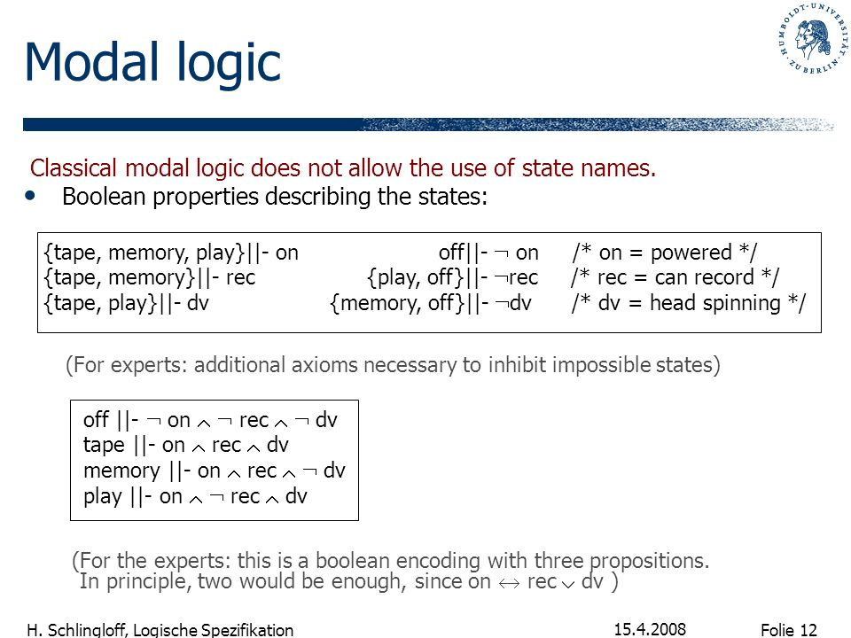 Modal logic Classical modal logic does not allow the use of state names. Boolean properties describing the states: