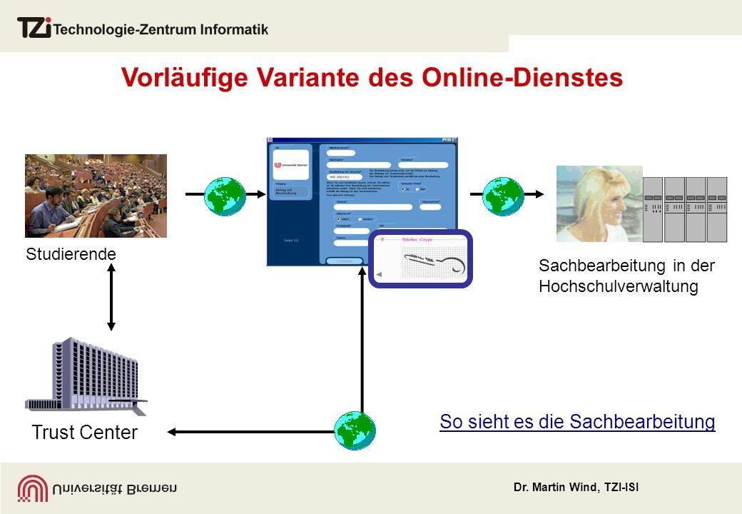 Vorläufige Variante des Online-Dienstes