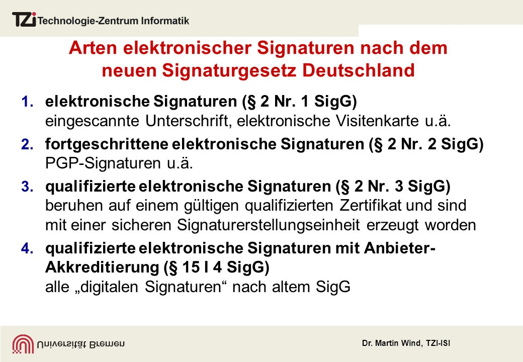 Arten elektronischer Signaturen nach dem neuen Signaturgesetz Deutschland