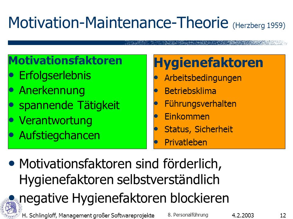 Motivation-Maintenance-Theorie (Herzberg 1959)