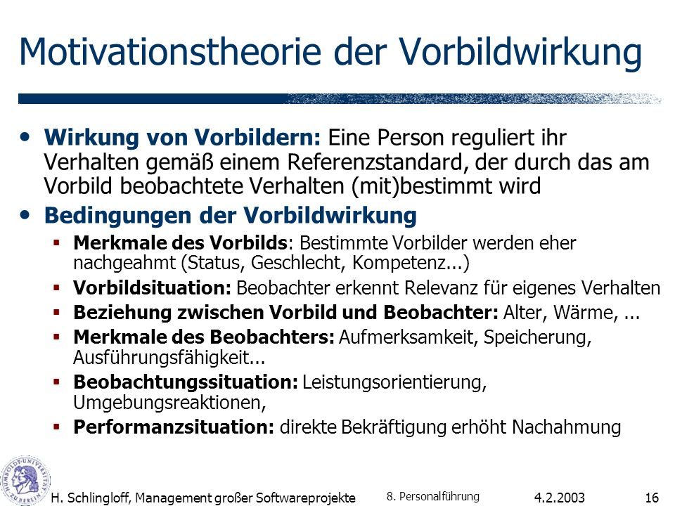 Motivationstheorie der Vorbildwirkung