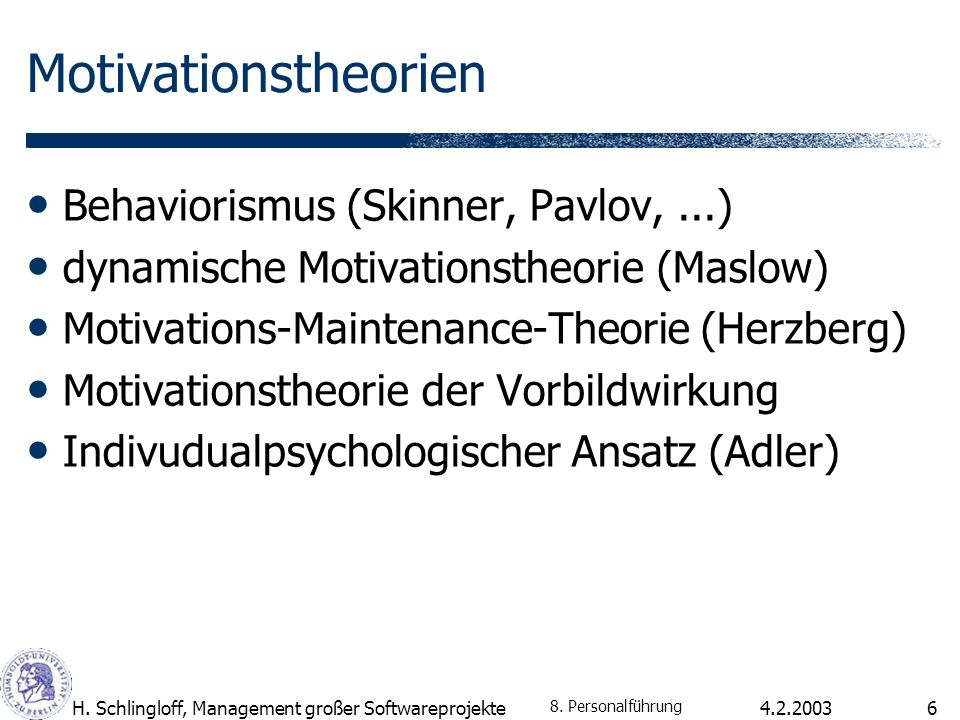 Motivationstheorien Behaviorismus (Skinner, Pavlov, ...)