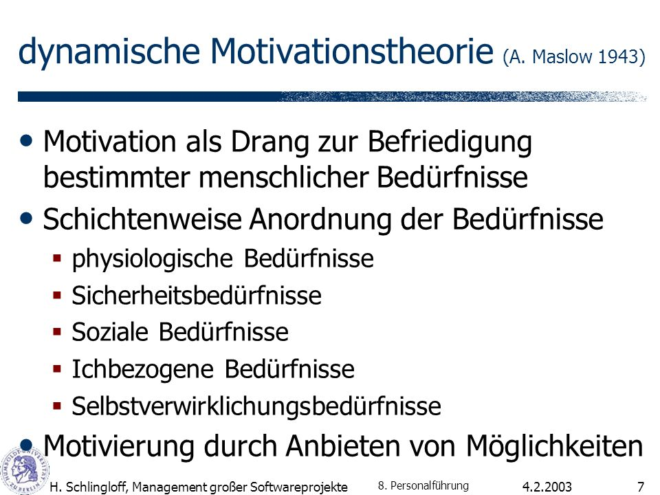 dynamische Motivationstheorie (A. Maslow 1943)