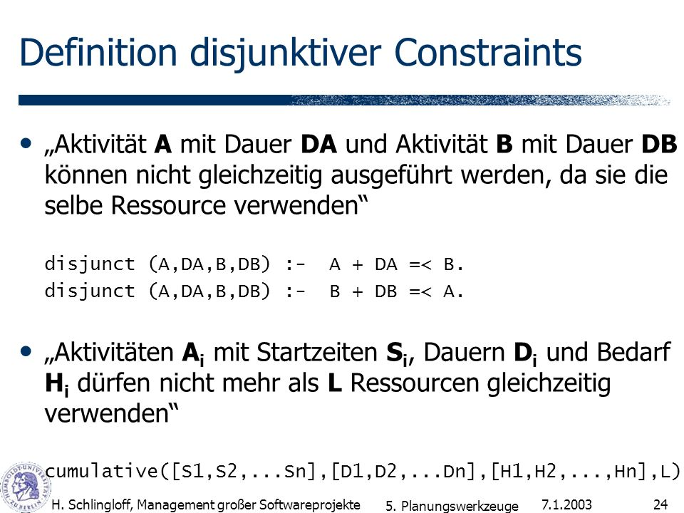 Definition disjunktiver Constraints