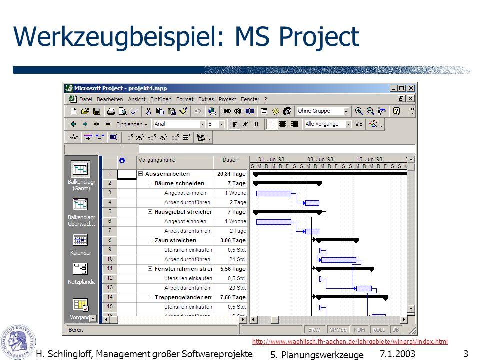 Werkzeugbeispiel: MS Project