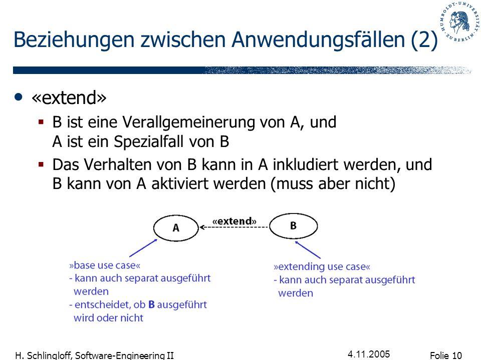 Beziehungen zwischen Anwendungsfällen (2)