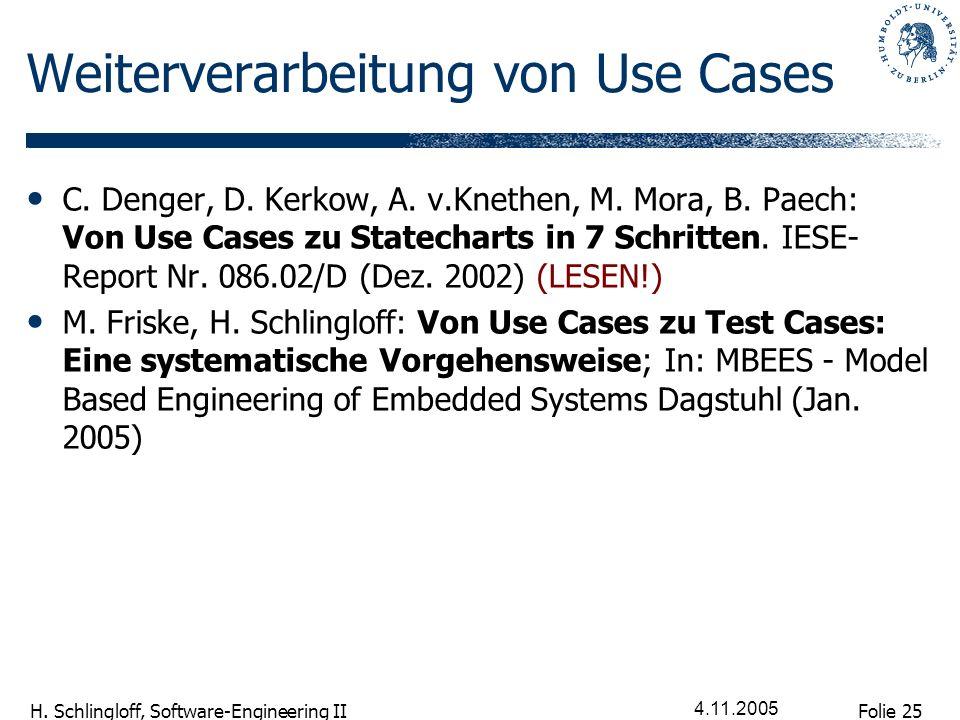 Weiterverarbeitung von Use Cases
