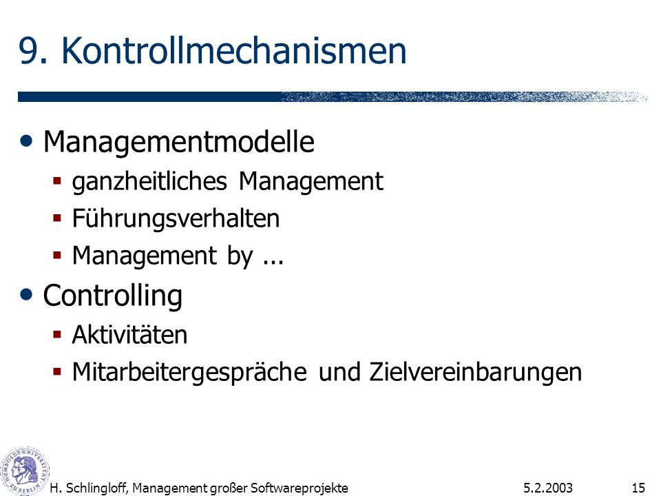 9. Kontrollmechanismen Managementmodelle Controlling
