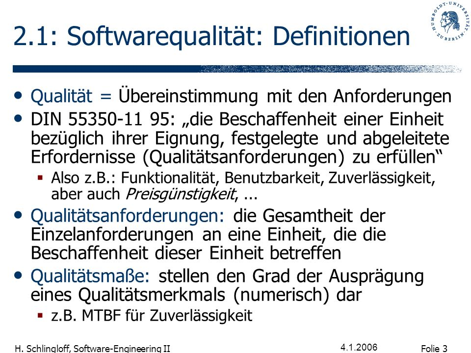 2.1: Softwarequalität: Definitionen