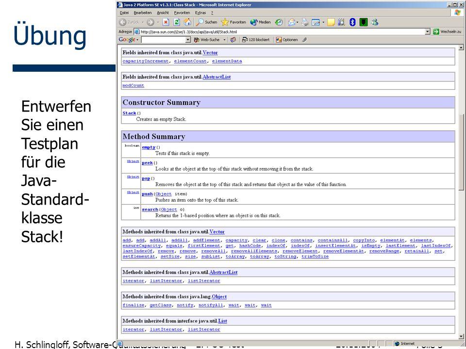 Übung Entwerfen Sie einen Testplan für die Java-Standard-klasse Stack!