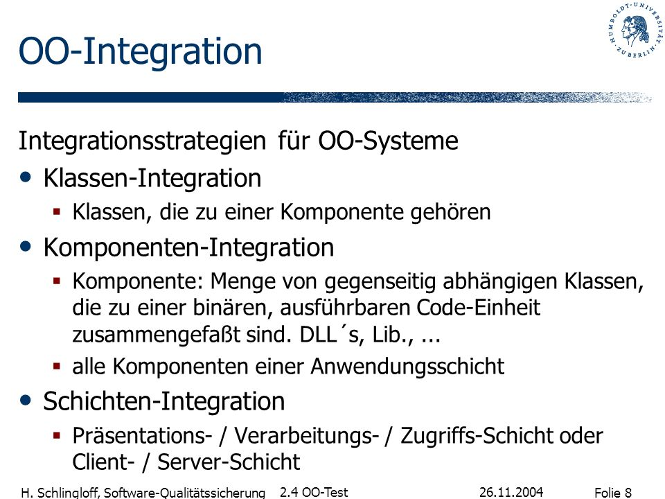 OO-Integration Integrationsstrategien für OO-Systeme