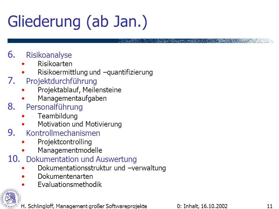Gliederung (ab Jan.) Risikoanalyse Projektdurchführung Personalführung