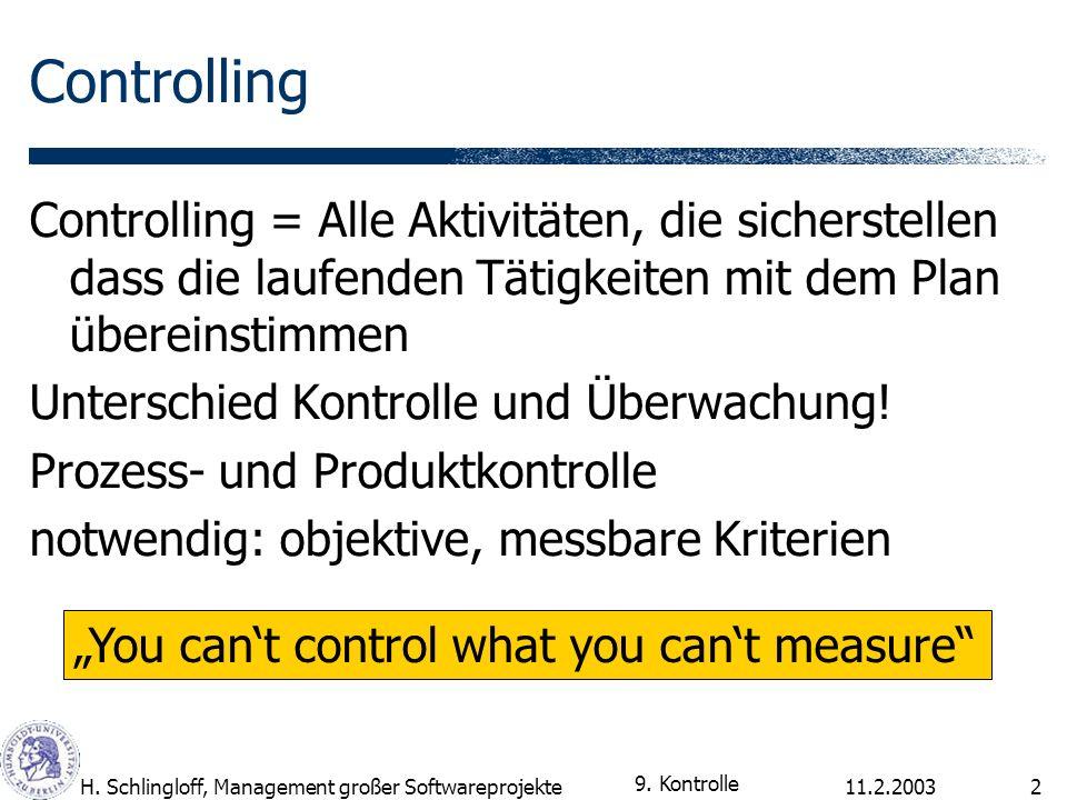 Controlling Controlling = Alle Aktivitäten, die sicherstellen dass die laufenden Tätigkeiten mit dem Plan übereinstimmen.