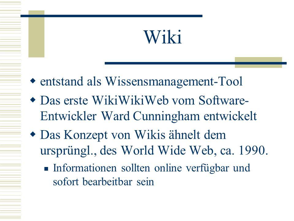 Wiki entstand als Wissensmanagement-Tool