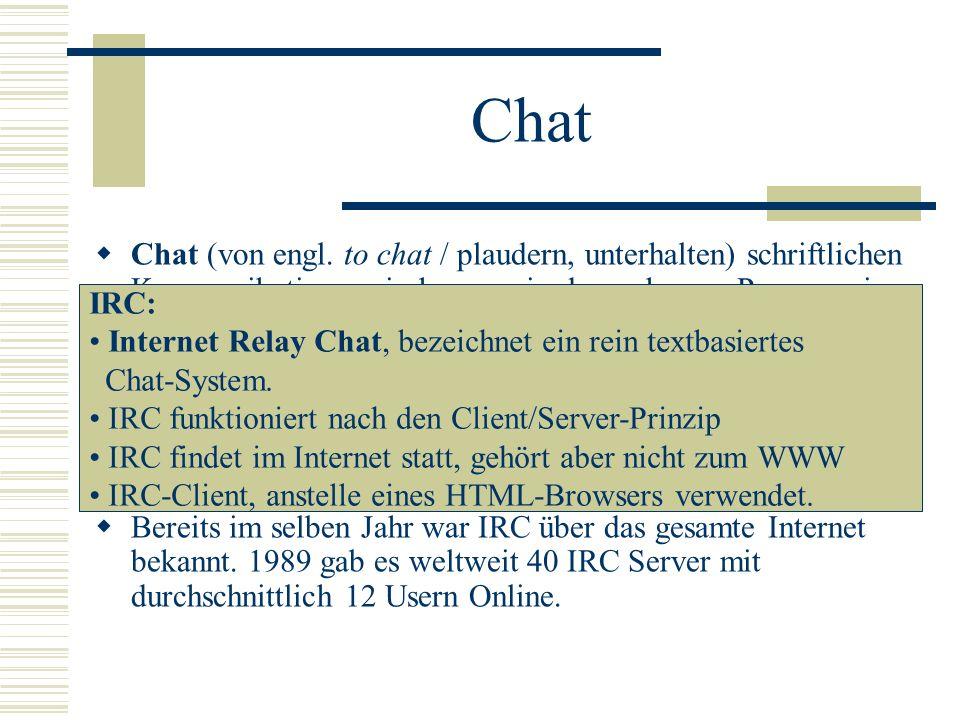 Chat Chat (von engl. to chat / plaudern, unterhalten) schriftlichen Kommunikation zwischen zwei oder mehreren Personen in Echtzeit.