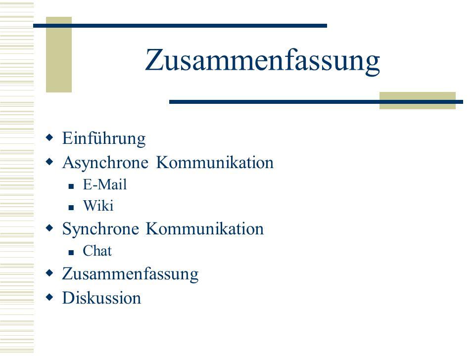 Zusammenfassung Einführung Asynchrone Kommunikation