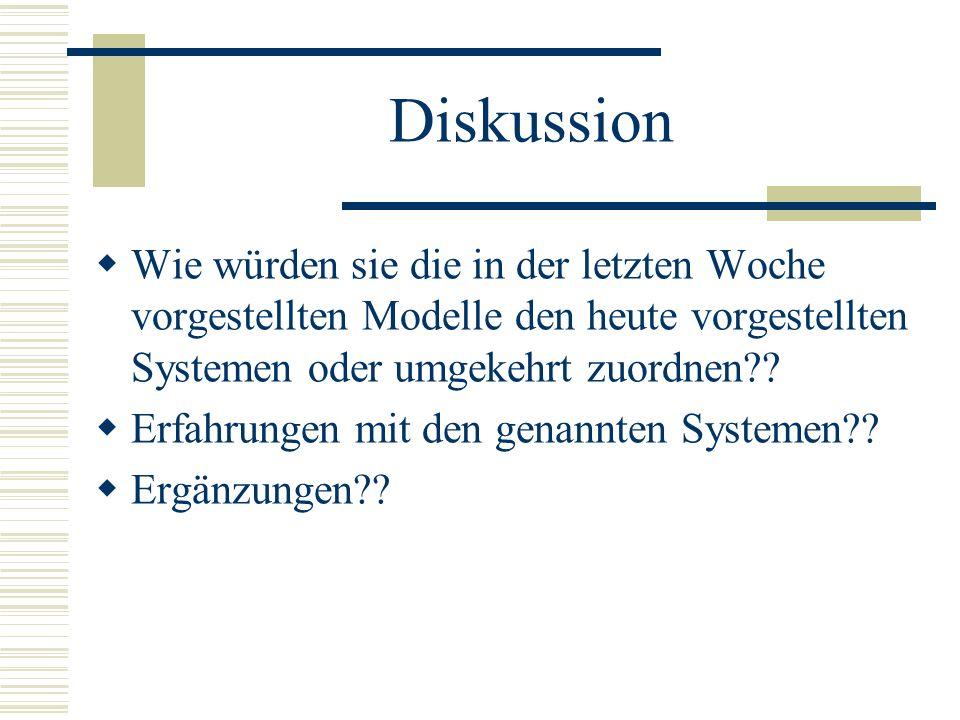 Diskussion Wie würden sie die in der letzten Woche vorgestellten Modelle den heute vorgestellten Systemen oder umgekehrt zuordnen