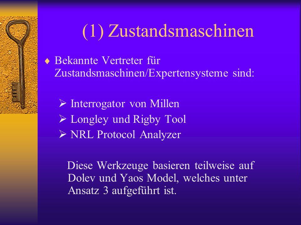 (1) Zustandsmaschinen Bekannte Vertreter für Zustandsmaschinen/Expertensysteme sind: Interrogator von Millen.