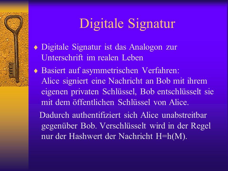Digitale Signatur Digitale Signatur ist das Analogon zur Unterschrift im realen Leben.