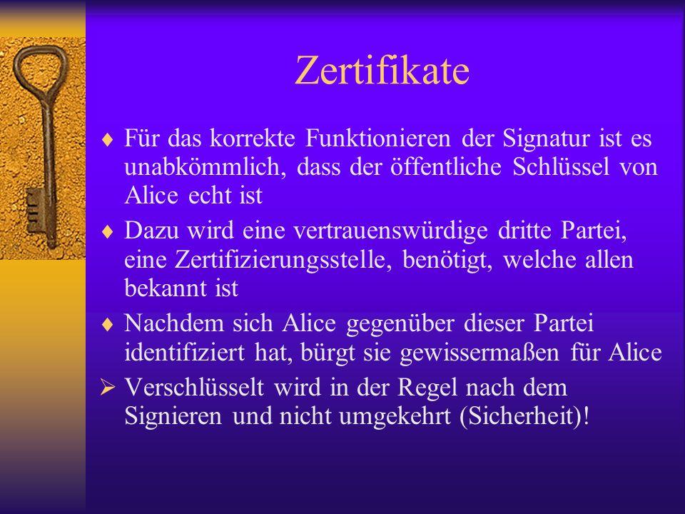 ZertifikateFür das korrekte Funktionieren der Signatur ist es unabkömmlich, dass der öffentliche Schlüssel von Alice echt ist.