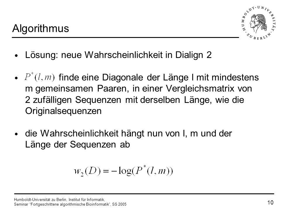 Algorithmus Lösung: neue Wahrscheinlichkeit in Dialign 2