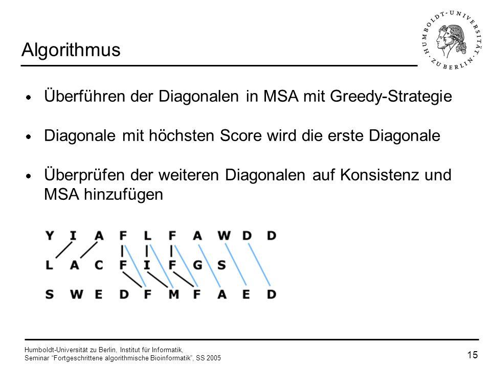 Algorithmus Überführen der Diagonalen in MSA mit Greedy-Strategie