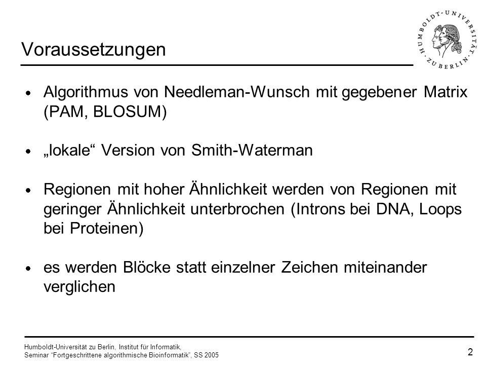 """Voraussetzungen Algorithmus von Needleman-Wunsch mit gegebener Matrix (PAM, BLOSUM) """"lokale Version von Smith-Waterman."""