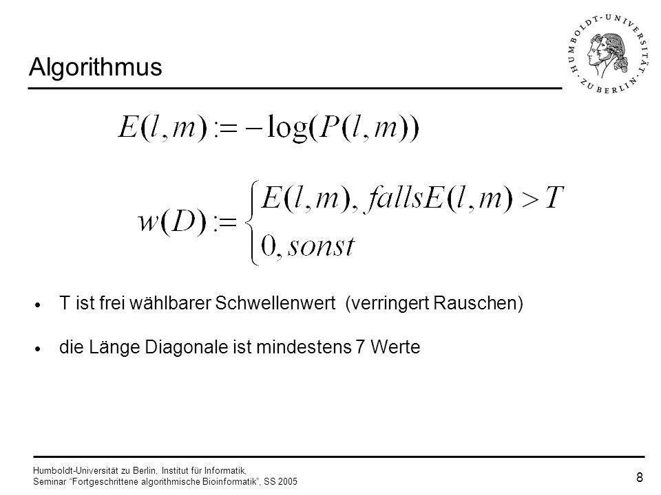 Algorithmus T ist frei wählbarer Schwellenwert (verringert Rauschen)