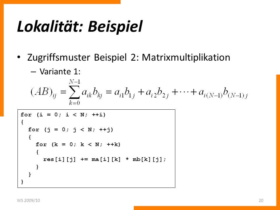 Lokalität: Beispiel Zugriffsmuster Beispiel 2: Matrixmultiplikation