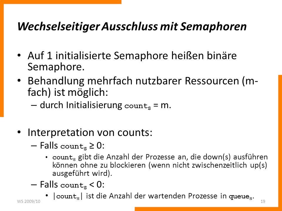 Wechselseitiger Ausschluss mit Semaphoren