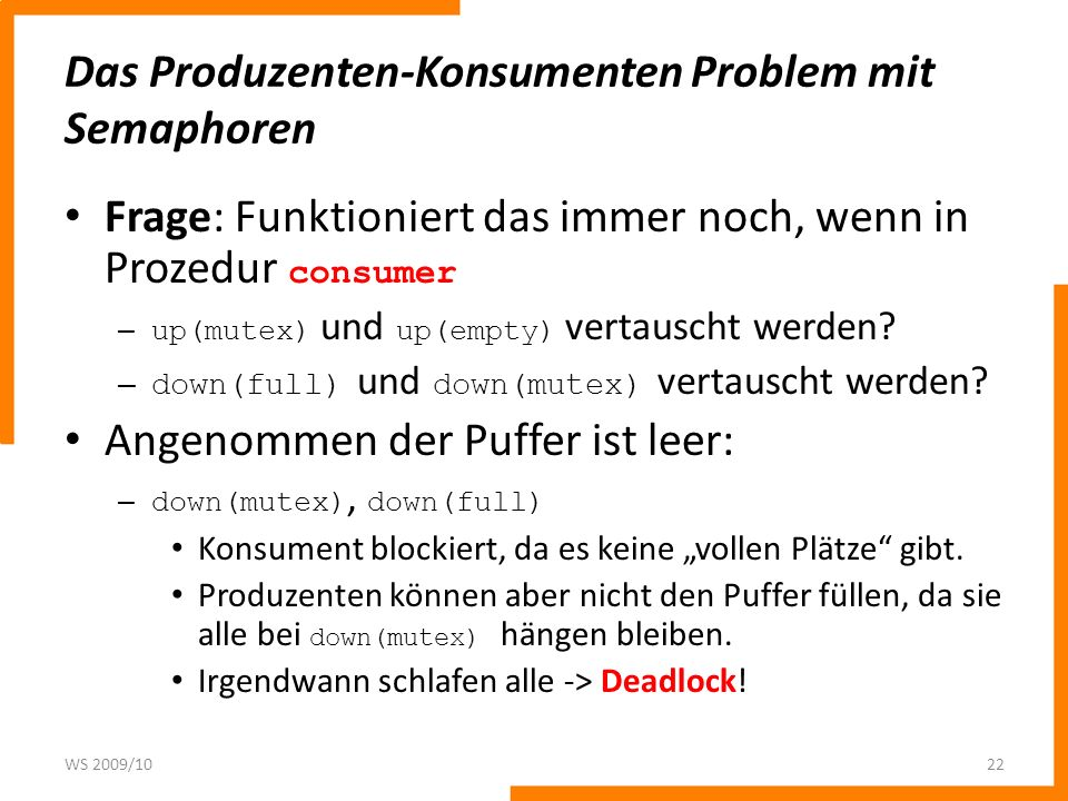 Das Produzenten-Konsumenten Problem mit Semaphoren
