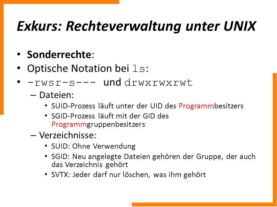 Exkurs: Rechteverwaltung unter UNIX
