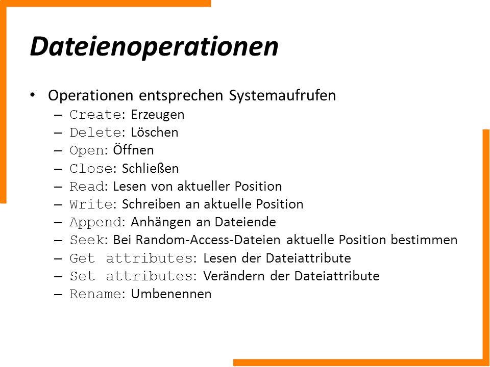 Dateienoperationen Operationen entsprechen Systemaufrufen