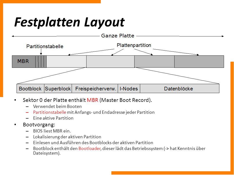 Festplatten LayoutSektor 0 der Platte enthält MBR (Master Boot Record). Verwendet beim Booten.
