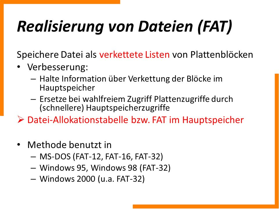 Realisierung von Dateien (FAT)