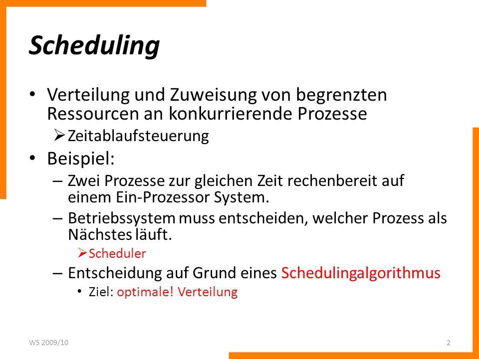 Scheduling Verteilung und Zuweisung von begrenzten Ressourcen an konkurrierende Prozesse. Zeitablaufsteuerung.