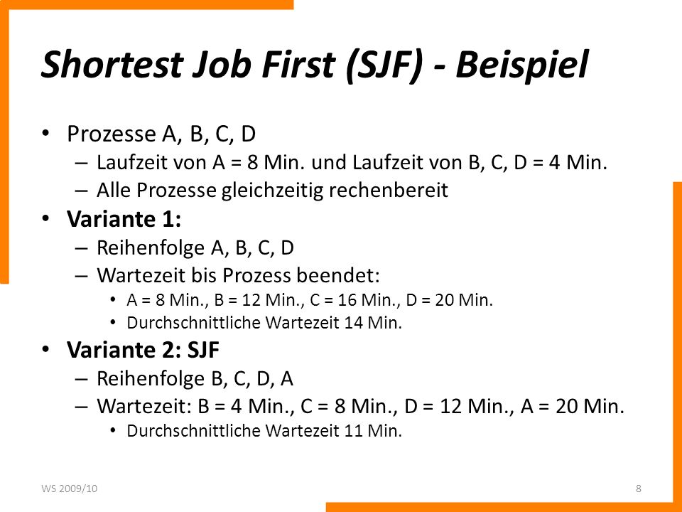Shortest Job First (SJF) - Beispiel