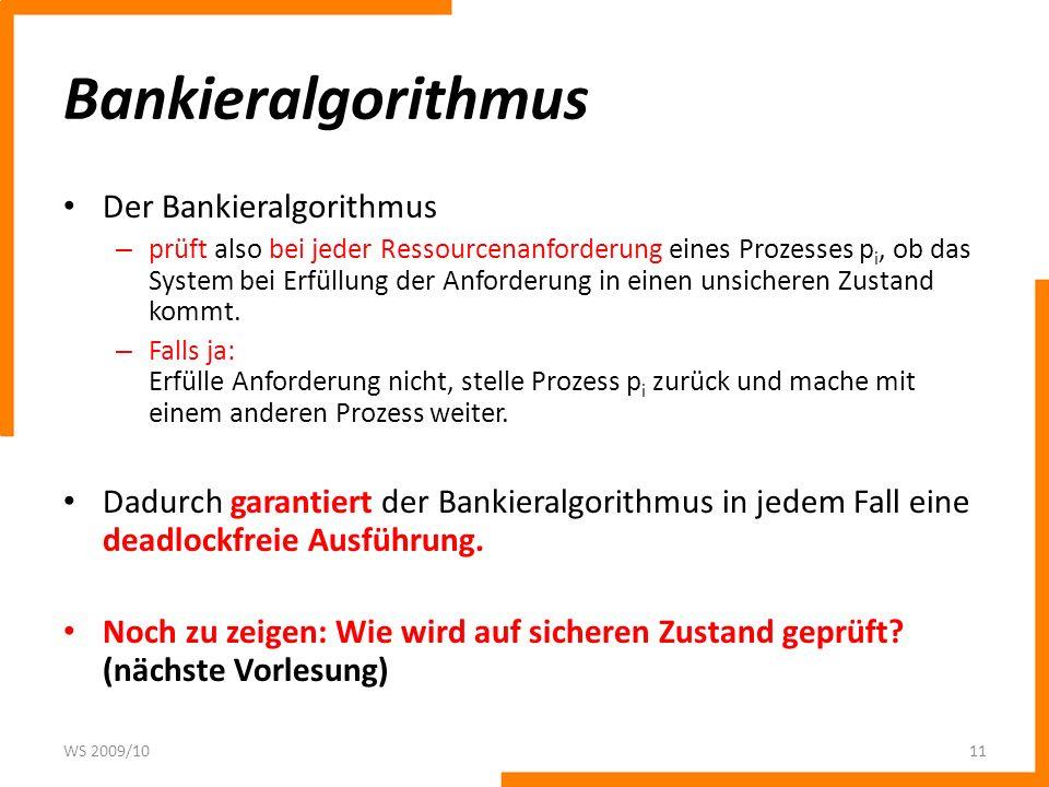 Bankieralgorithmus Der Bankieralgorithmus