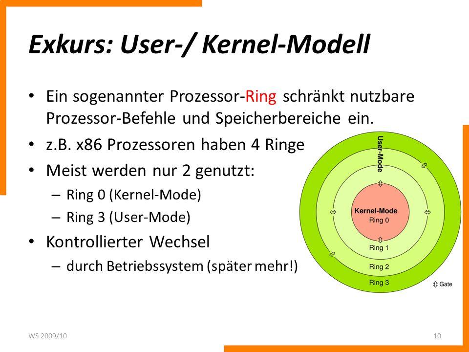 Exkurs: User-/ Kernel-Modell