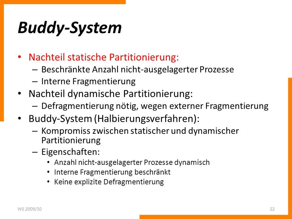 Buddy-System Nachteil statische Partitionierung: