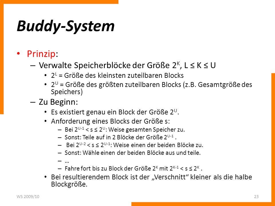 Buddy-System Prinzip: Verwalte Speicherblöcke der Größe 2K, L ≤ K ≤ U