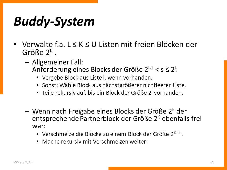 Buddy-System Verwalte f.a. L ≤ K ≤ U Listen mit freien Blöcken der Größe 2K . Allgemeiner Fall: Anforderung eines Blocks der Größe 2i-1 < s ≤ 2i: