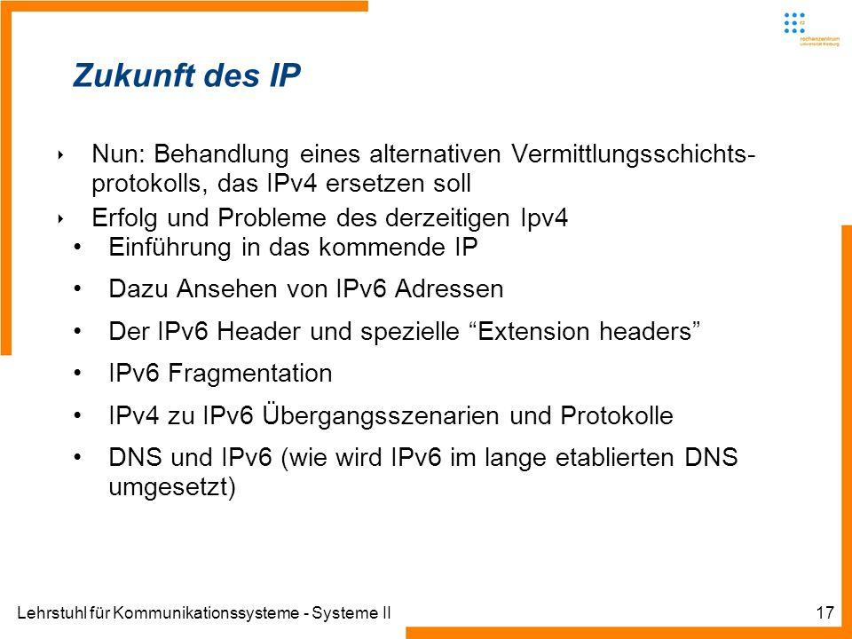 Zukunft des IPNun: Behandlung eines alternativen Vermittlungsschichts- protokolls, das IPv4 ersetzen soll.