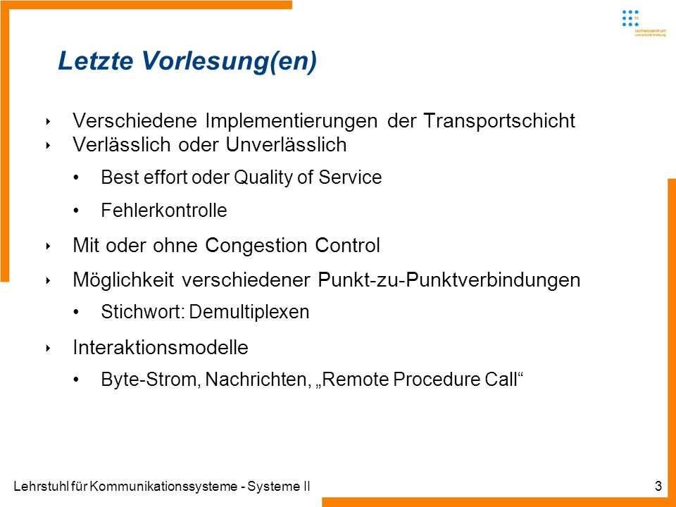 Letzte Vorlesung(en)Verschiedene Implementierungen der Transportschicht. Verlässlich oder Unverlässlich.