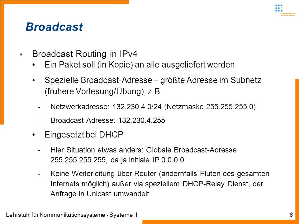 Broadcast Broadcast Routing in IPv4